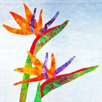 Bird Of Paradise Fabric Panel Flowers Tropical Hawaiian Quilt Square Batik