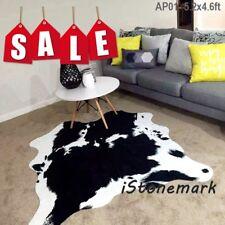 Black CowHide Animal Printed 5.2X4.6Ft  Faux Fur Rug Mat Carpet Blanket Washable
