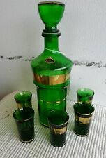 "6 PC GREEN /GOLD OVERLAY CORDIAL SET BAREWARE;""JAY'S""ITALY"