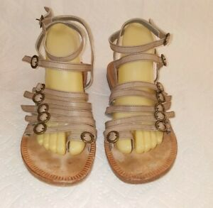 FIORENTINI+BAKER Italy Made Womens 38.5 Taupe Leather Gladiator Sandals Shoes