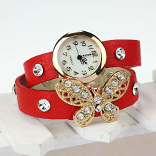Vintage Women Watch Leather Strap Butterfly Rivet Bracelet Dress Red Wristwatch