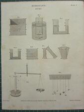 1811 fechado Antiguo impresión ~ Hidráulica Fluidos Varios diagramas aparatos