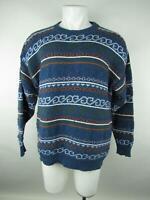 Geometrics Men's sz L VINTAGE Blue Cotton Fair Isle Long Sleeve Crewneck Sweater