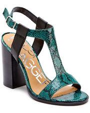 NEW Anthropologie KELSI DAGGER Jade Snake Leather Gabbie Heels Sandals 7 T-Strap