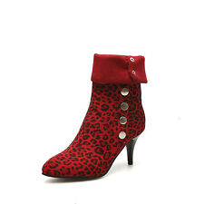 Women's Shoes Leopard Synthetic Leather High Heels Mid Calf Boots UK Size b134