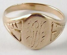 100% Genuine Vintage 9ct. Solid Yellow Gold Signet Ring