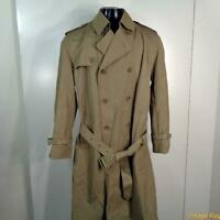 Oleg Cassini Long RAINCOAT Rain Trench Coat Mens Size M 40 Khaki belted