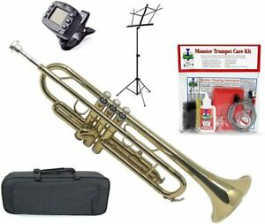 Monster Trumpet New Intermediate Bb Trumpet with Music Stand Tuner Cleaning Kit