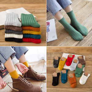 Women's Casual Candy Color Knitted Cotton Socks Soft Pile Ankle Socks