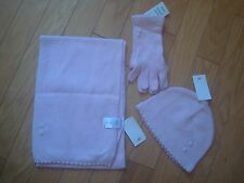 NWT set of pink with pearls hat scarf and gloves by H&M 70% wool