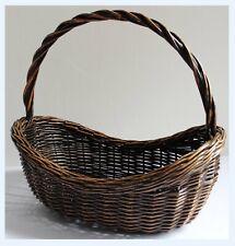 Vintage 70's Dark Wicker Basket. Flower Garden Veg Shopping Handle Oval Boho