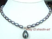 noir, perle d'eau douce perle, collier,coquillage perle pendentif,  43cm