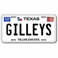 Gilleys 1980 Texas Bar Nightclub Aluminum License Plate Black Text White Gloss