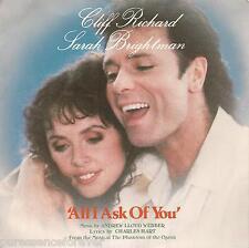 "CLIFF RICHARD & SARAH BRIGHTMAN - All I Ask Of You (UK 2 Tk 1986 7"" Single PS)"