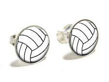 Volleyball Novelty Silver Plated Stud Earrings