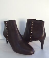 Coach Womens Hickory Chestnut Leather Ankle Zip Boots 9.5 NEW IN BOX