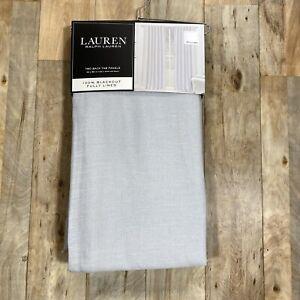 "Ralph Lauren 52x96"" Silver Linen Herringbone Blackout Curtains Back Tab Panels"
