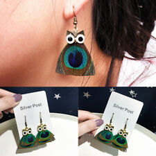 1Pairs Fashion Cute Owl Shape Statement Dangle Alloy Feather Earrings Gift