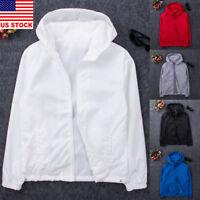 Men Solid Color Hoodie Coat Jacket Outwear Sweater Jumper Zipper Pullover Top US