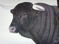TABLEAU  NADINE PETRY  TORO TAUREAU ESPAGNE peinture acrylique  toile