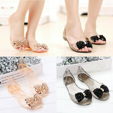 Womens Summer Jelly Flats Beach Shoes Rhinestones Beads Bowknot Crystal Sandals