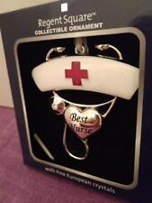 Best Nurse Christmas Ornament NIB RN Gift Stethoscope Red Cross Crystals