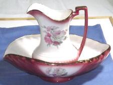 Stunning Rockingham Pink Pitcher Jug & Oval Bowl Washstand Set  Vase c1835
