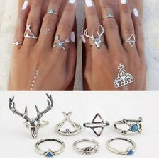7 pcs Silver Rings Set Knuckle Urban Stack Above Band Midi Turquoise Rings