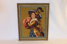 "Vintage Completed Needlepoint Portrait Victorian Woman In Yellow Blue 19"" x 15"""