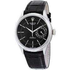 Rolex Cellini Date Black Dial 18kt White Gold Mens Watch 50519BKSBKL