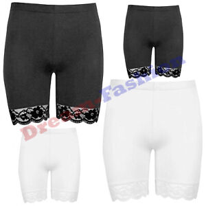 Women's Scallop Lace Trim Plain Cycling Shorts Dancing Gym Leggings Casual Pants