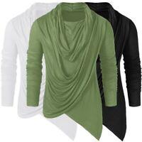 Hot Mens Tops Slim Fit Casual T-shirts Shirt Long Sleeve Cotton Asymmetric Tee