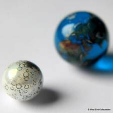Earth & Moon Marble Set - 22 & 12mm Detailed Glass - Telescope Astronomy Globes
