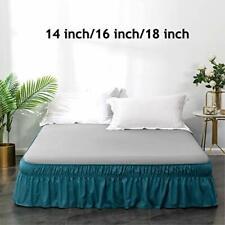 Ayasw Bed Skirt 16 Inch Drop Dust Ruffle Three Fabric Sides Wrap Around Ruffled