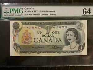 Canada 1973 Certified Graded Banknote. $1.00. PMG-EPQ 64 Replacement note