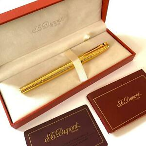 ST DUPONT OLYMPIO GOLD ROLLRBALL PEN; BOX