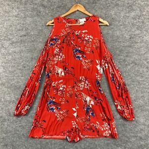 Witchery Womens Playsuit Size 10 Orange Floral Cold Shoulder Long Sleeve 174.11