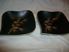 2 Vintage Porcelain Square Dishes Black with Gold Pinecones Hand Painted