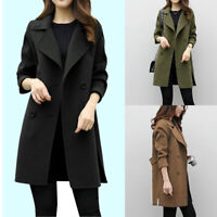 Women Winter Warm Trench Parka Long Coat Outwear Lapel Wool Jacket Overcoat G-0