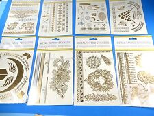 6 sheets Temporary tattoos Gold Silver Indian hanna style Body Jewelry Makeup