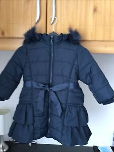 Monsoon Heritage Collection girls navy lined friiled coat; age 3-4; hood exc con