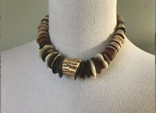 Vintage Tribal Necklace Natural Spiny Shell Graduated Disks Bead Antler Choker