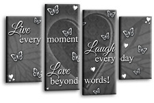 LOVE QUOTE ART Picture Grey White Live Laugh Heart Home Print Split Panel