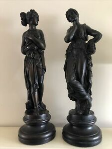 Stunning Pair Of Classical Women Made From Plaster Bronze Effect Heavy