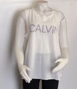 Calvin Klein Performance Tank For Women White Size XXL Style PF0T3193