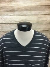 Polo Ralph Lauren Sweater V-Neck Cotton Gray Striped Mens L with Red Pony