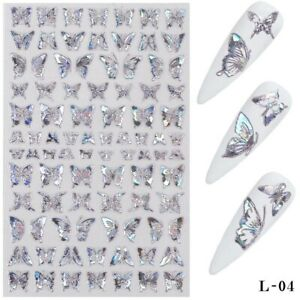 DIY Nail Art Decorations 3D Laser Silver Butterfly Nail Stickers Nail Transfer