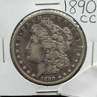 1890 CC $1 Morgan Silver Dollar Coin Choice VF Very Fine Vam-2 Variety Tilted CC