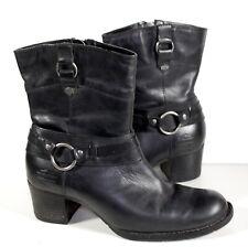 Harley Davidson Black Leather Boots Heel Zip Women's 8.5
