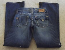 True Religion Jeans Sz 24 x 33 3/4 Med Wash Low Rise Boot Cut Flap Distressed